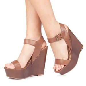 Just Fab Willow Wooden Wedge Sandals